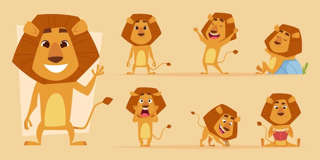Leeuw tekenfilm. wild afrikaans dier in actie vormt safari leeuwen karakters vector geïsoleerd. leeuw roofdier geluk en enge, hongerige en vriendelijke mascotte illustratie