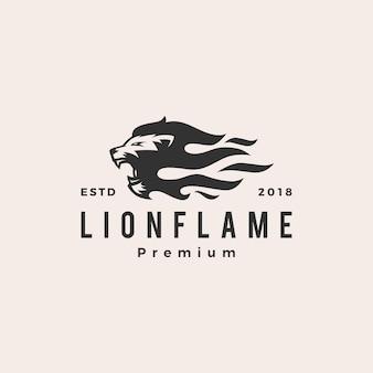 Leeuw vuur vlam logo vector illustratie tatoeage