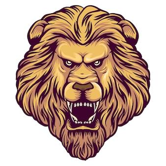 Leeuwen hoofd mascotte logo