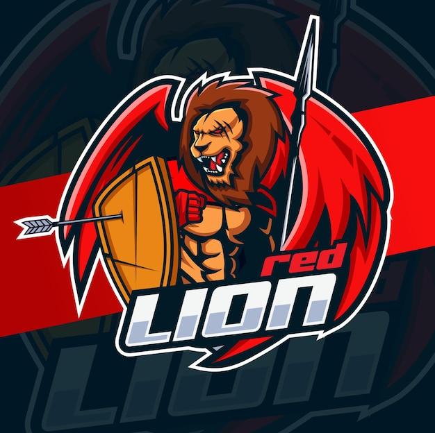 Leeuwenjager met vleugels mascotte logo esport-ontwerp voor fitness- en gaming-mascotte