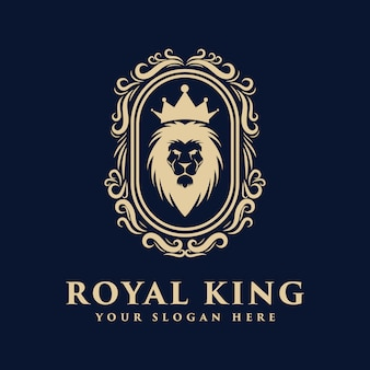Leeuwenkoning logo badge met roem koninklijke luxe