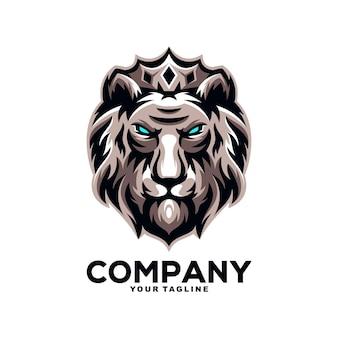 Leeuwenkoning mascotte logo ontwerp illustratie