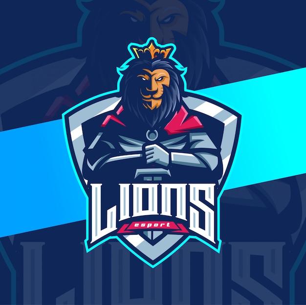 Leeuwenkoning ridder mascotte esport logo ontwerp