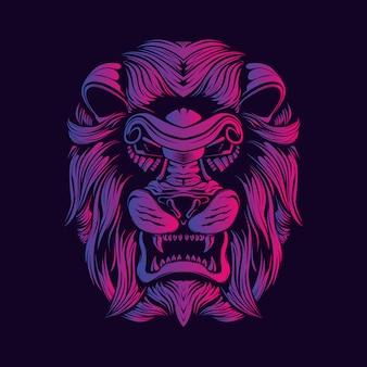 Leeuwenkop decoratief gezicht kunstwerk illustratie