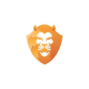 Leeuwenkop en schild mascotte-logo