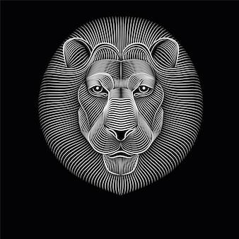 Leeuwenkop gemaakt van lijnen. serieus en attent.