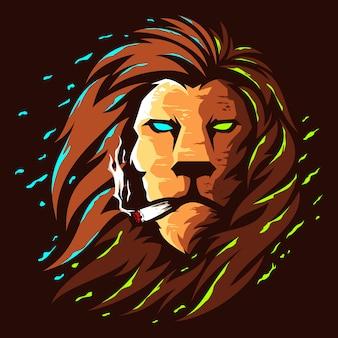 Leeuwenkop illustratie kleur logo ontwerp