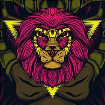 Leeuwenkop kunstwerk illustratie