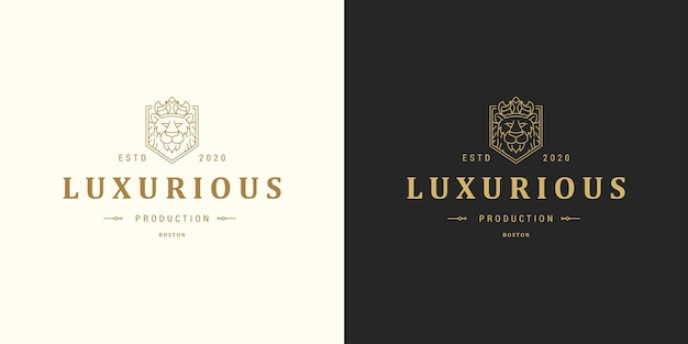 Leeuwenkop lijn symbool logo embleem ontwerp sjabloon illustratie