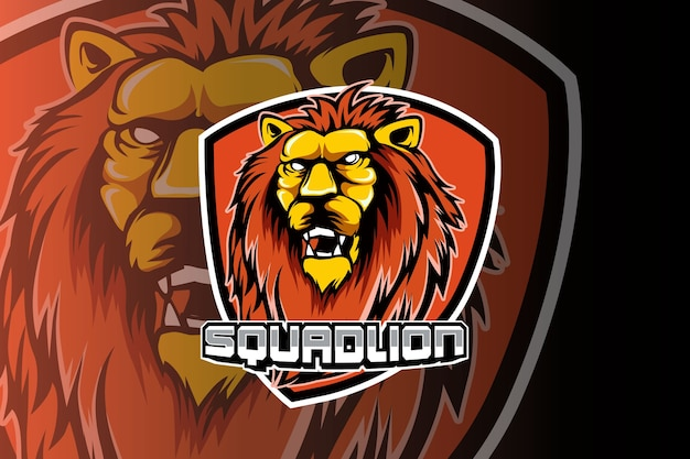Leeuwenkop mascotte esport logo ontwerp