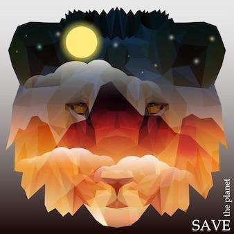 Leeuwenkop met bergen en nachtelijke hemel met wolken, maan en sterren. conceptenillustratie op het thema van bescherming van natuur en dieren voor ontwerpkaart, uitnodiging, poster, aanplakbiljet of banner