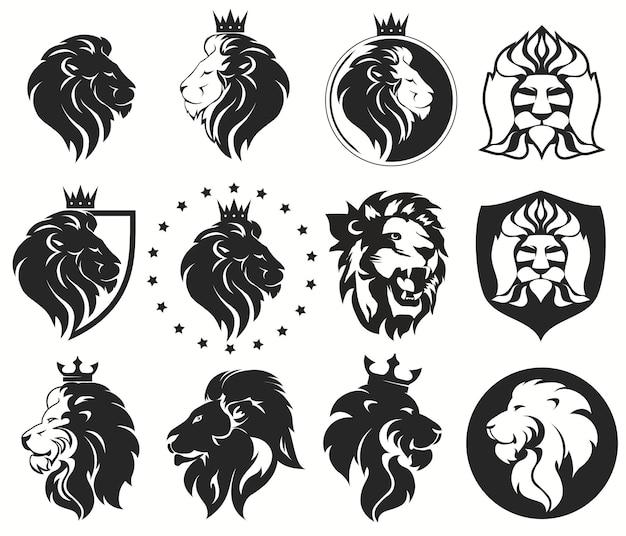 Leeuwenkop met kroonset, koninklijk kattenprofiel. gouden luxe embleem. vector