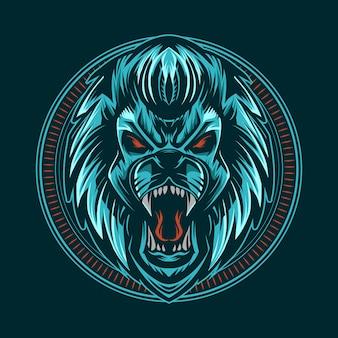 Leeuwenkop vector illustratie donkere stijl in blauwe kleur