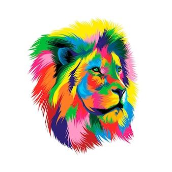 Leeuwenkopportret van veelkleurige verf splash van aquarel gekleurde tekening realistisch