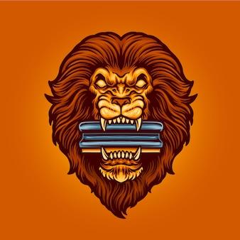 Leeuwhoofd met wisser voor mascot-logo met zeefdruk