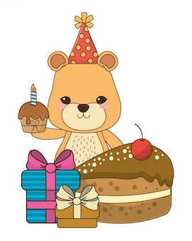Leeuwin cartoon met gelukkige verjaardag pictogram