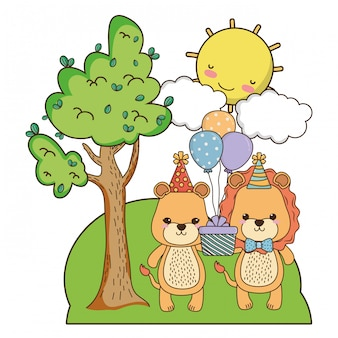 Leeuwin en leeuw met gelukkige verjaardag