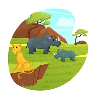 Leeuwin relax op rots, neushoorn moeder en baby