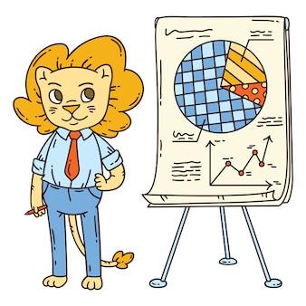 Leeuwleraar met een bord op een statief.