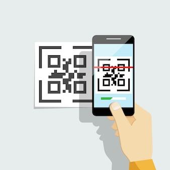 Leg qr-code vast op mobiele telefoon.