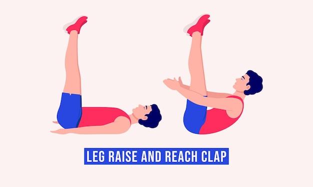Leg raise and reach clap oefening mannen workout fitness aerobic en oefeningen