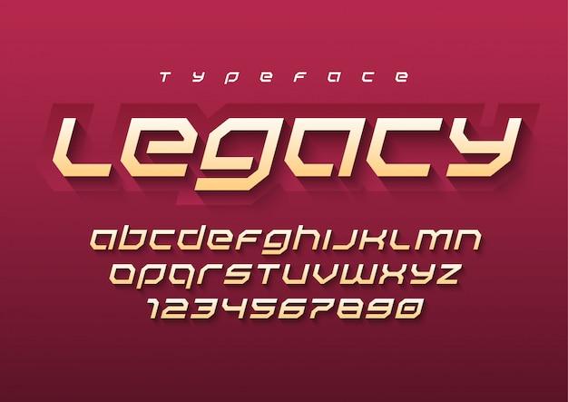 Legacy futuristische sport lettertype, alfabet