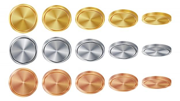 Lege 3d gouden, zilveren, bronzen munten