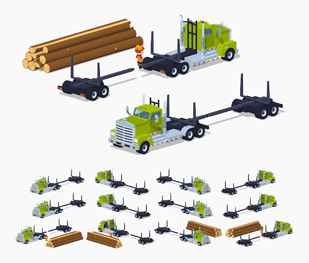Lege 3d lowcap isometrische log-vrachtwagen