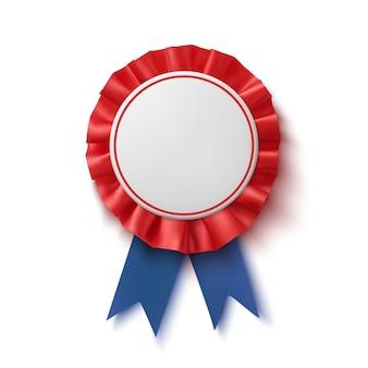 Lege badge. realistisch, blauw en rood label met lint.