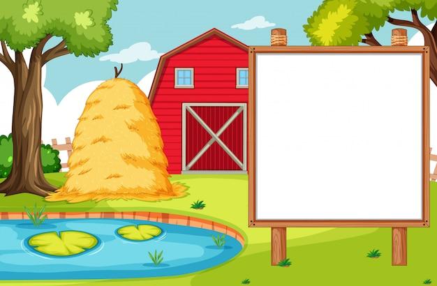 Lege banner board in nuture boerderij landschap