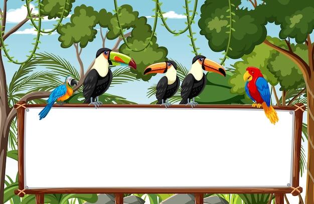 Lege banner in de regenwoudscène met wilde dieren