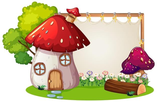 Lege banner in de tuin met geïsoleerd paddestoelhuis