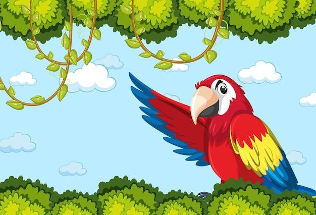 Lege banner met bladeren frame en papegaai vogel stripfiguur