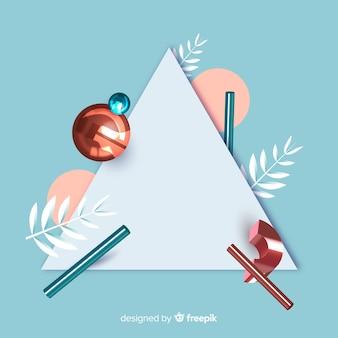 Lege banner met driedimensionale geometrische vormen