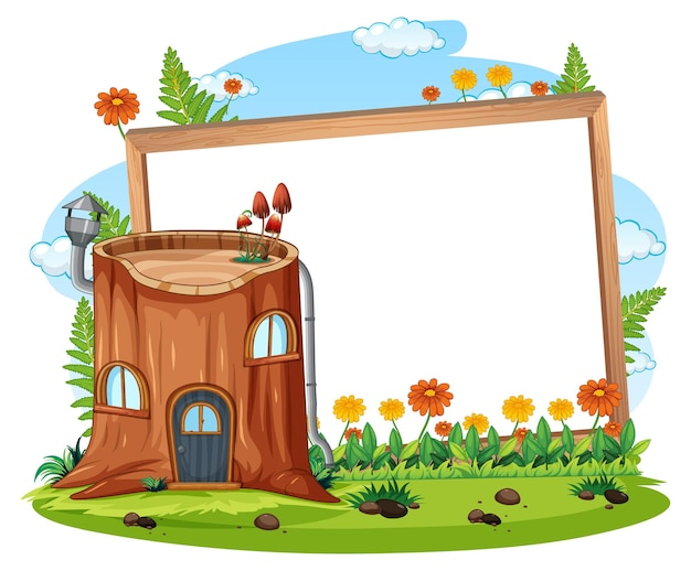 Lege banner met fantasie houten huis