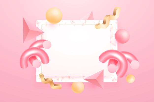Lege banner met geometrische 3d-vormen