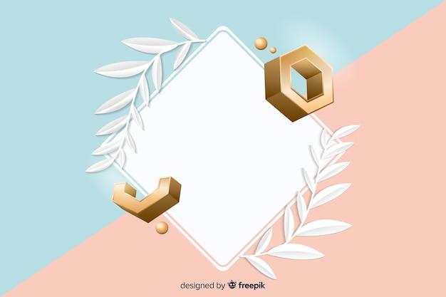 Lege banner met geometrische vormen in 3d effect