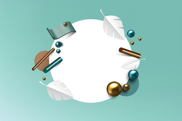 Lege banner met geometrische vormen in 3d-effect