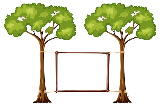 Lege banner met grote bomen op witte achtergrond