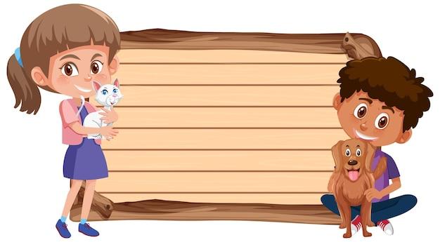 Lege banner met kinderen en hun huisdieren