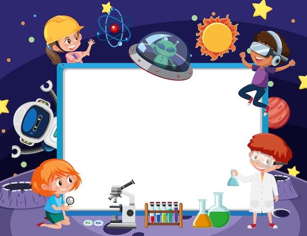 Lege banner met kinderen in technologiethema