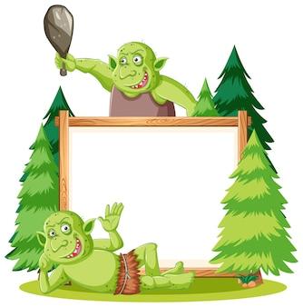 Lege banner met troll- of goblin-elementen
