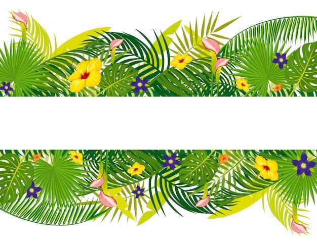 Lege banner met tropisch bloemengebladerte
