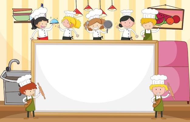 Lege banner met veel kleine chef-koks in de keuken