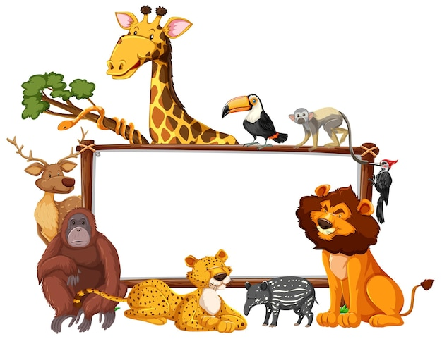 Lege banner met wilde dieren op witte achtergrond