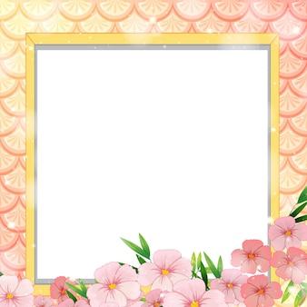 Lege banner op regenboogvissenschubben met veel bloemen