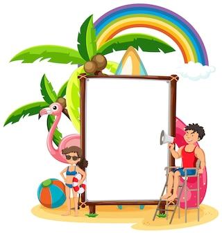 Lege bannersjabloon in geïsoleerde strandscène