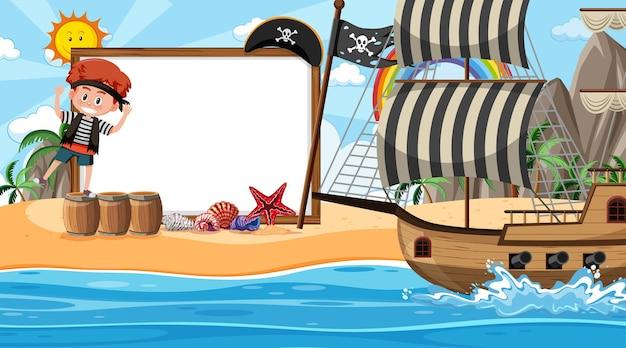 Lege bannersjabloon met piratenkinderen op het strand overdag
