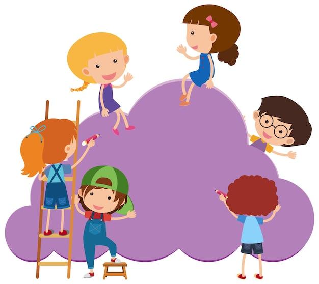 Lege bannerwolkvorm met veel stripfiguur voor kinderen