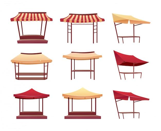 Lege bazaar luifels cartoon illustraties set. lege straat marktkramen met luifel egale kleur object. fairtrade-tenten, marktplaatskiosken die op witte inzameling worden geïsoleerd als achtergrond